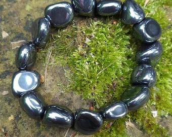 stretch tumbled hematite bracelet for chakra healing, protection, reflect negative energy