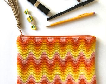 Needlepoint Zippered Pouch in Yellow and Orange
