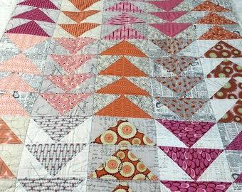 Pink/Orange Flying Geese Handmade Quilt