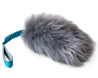 SMALL Fur Tug Dog Toy Sheepskin with Flexible Handle, Gray fur, Tug toy, Sheepskin dog toy, Choose your colors, DOG TOY, Bungee toy
