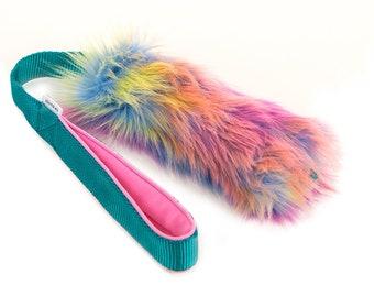 SMALL Faux Fur Tug Dog Toy // Synthetic fur // Faux fur // Rainbow fur // Color fur // Choose colors // Durable dog toy