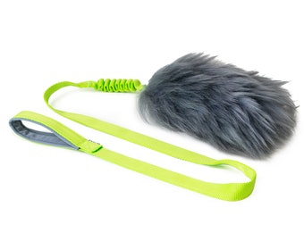 LARGE Fur Tug Dog Toy Sheepskin with Flexible Handle on long webbing // Gray fur // Durable dog toy  // Sheepskin dog toy