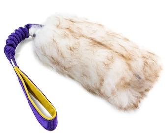 MEDIUM Fur Tug Dog Toy Sheepskin with Flexible Handle // Mouflon fur // Durable dog toy  // Sheepskin dog toy // Choose tour colors