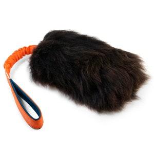 SMALL Fur Tug Dog Toy Sheepskin with spiral ball  Brown fur  Durable dog toy   Sheepskin dog toy