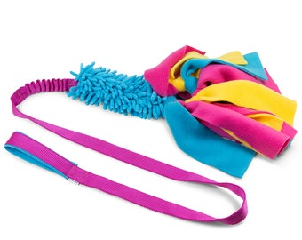 MOP tug toy BUNGEE with fleece stripes on long webbing