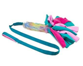 UNICORN Tug toy BUNGEE on long webbing with fleece stripes