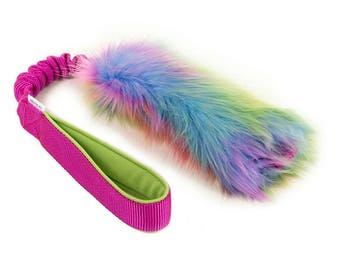 SMALL Rainbow fur tug dog toy with bungee