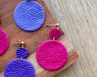 filigree earrings silver mothers day gift for friend colorful earrings for women polymer clay jewelry purple earrings dangle