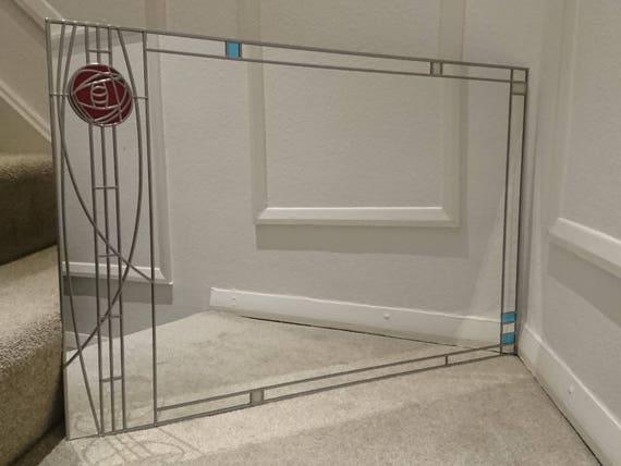Rennie Mackintosh Style Large Uk Handmade Stained Glass Mirror Etsy