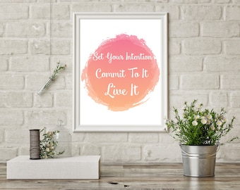 Set Your Intention, Commit To It, Live It, 3S Fitness Motivational Quote Print, Fitness Print, Watercolor, Inspirational Wall Art