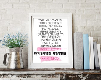 Inspirational Workout Manifesto, 3S Fitness Motivational Quote Print, Fitness Print, Brush Strokes, Inspirational Wall Art, Fitness Mantra
