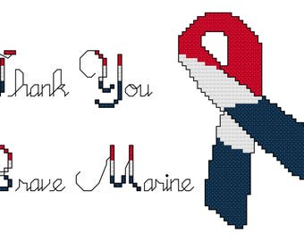 Cross Stitch Thank You for Marines