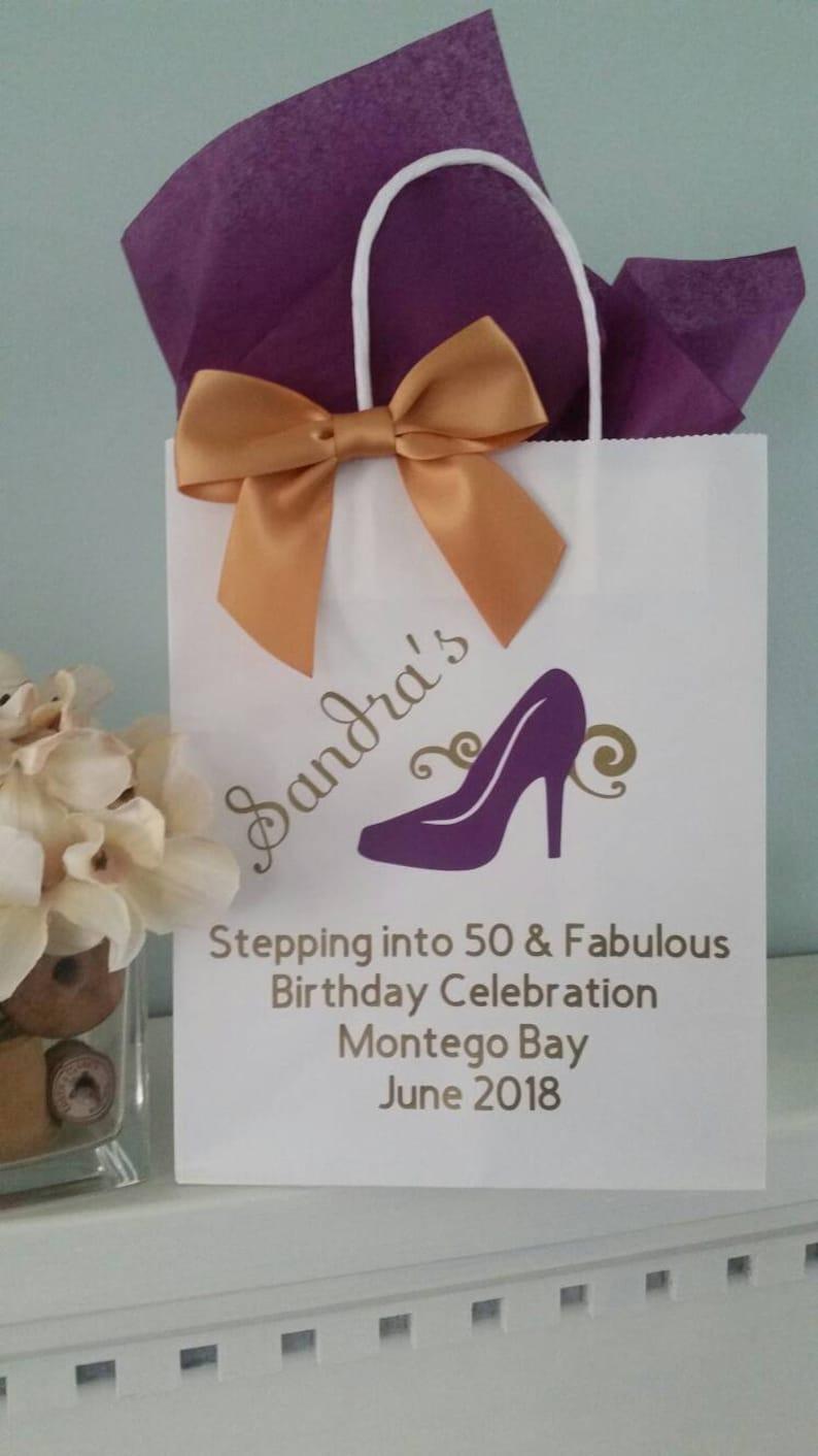 Custom Birthday Gift Bag Stepping Into 50 And Fabulous