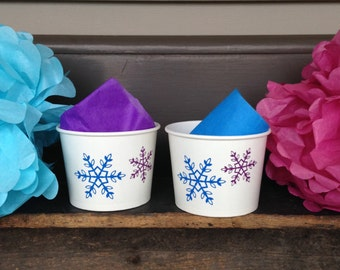 Snowflake, Frozen Party, Anna and Elsa Snack Cups, Sets of 8, 10, 12 or 15