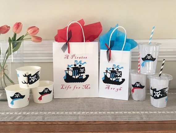 Sets include GiftFavor Bags Nautical Party Pirate Party Set FREE SHIPPING Drink Cups /& Snack Cup Kids Pirate Birthday