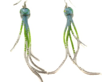 Unique Lamp Work Beaded Tassel Earrings / Beaded Art / Boho / Bohemian / Fringe / Dangle / Seed Bead / Jewelry / Everyday / Blue / Green
