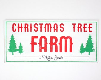Christmas Tree Farm Large Wood Sign | Vintage Style | Hand Painted | Rustic Christmas Decor | Reclaimed | 15 x 33 |