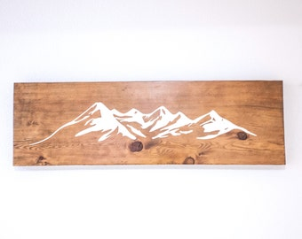 Mountains  | Wood Sign | Cabin Art | Rustic Decor | Reclaimed |