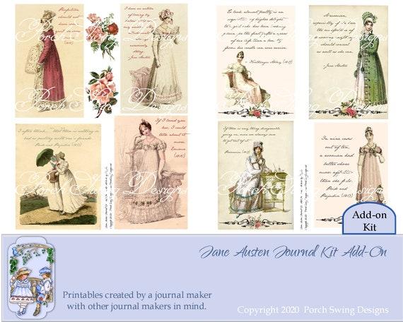 Regency Fashion Tags Digital Journal Printables Instant Download Paper Crafting Supplies Scrapbooking Jane Austen Journal Kit Add On