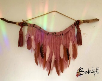 Home Blessing Big Wooden Stick, Pink Bohemian Wall Hanging