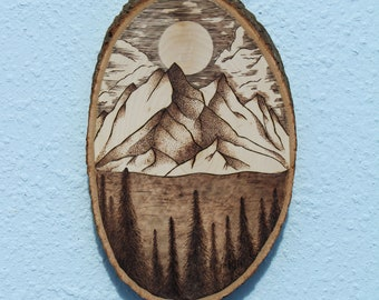 """Wilderness Mountain Sunset - 10"""" X 6"""" Wood Burn Picture"""