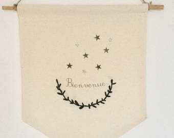 "Banner / pennant ""Welcome"" and stars"