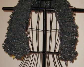 Black and White Ruffle Novelty Scarf