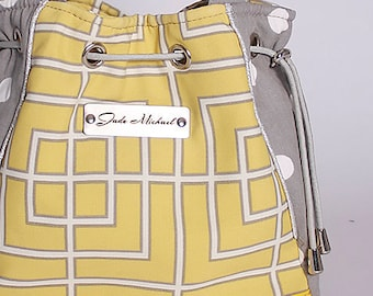 Yellow and Grey Fabric Shoulder Bag *Drew*