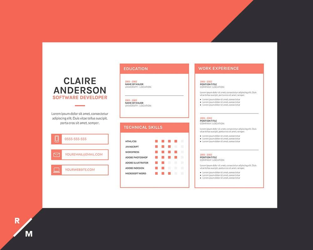 Plantilla de currículum vitae creativos y carta de | Etsy