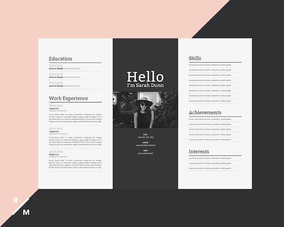 creative resume template horizontal landscape modern  u0026