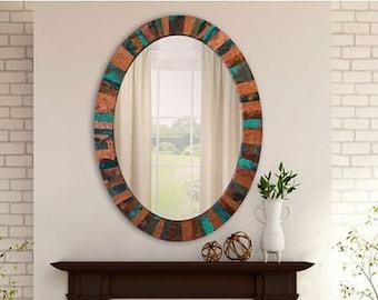 Custom Oval Embossed Copper Mirror