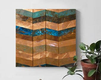 Small Embossed Copper Chevron Wall Art