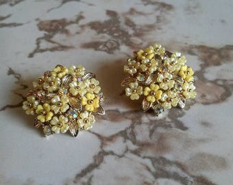 Pakula Rhinestone Flower Clip-On Earrings