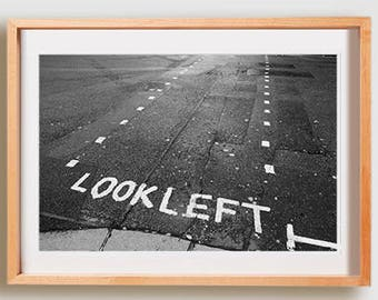 Look Left Print.  Black and White photography, lines, decor, wall art, artwork, large format photo.
