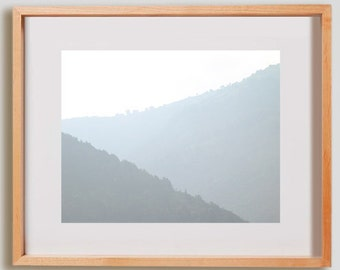 Misty View Print.  Nature photography, mountains, grey mist, wall art, artwork, large format photo.