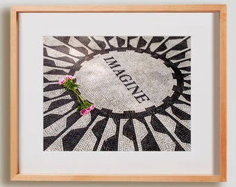 Imagine Print.  Urban photography, John Lennon, Central Park, The Beatles, NYC, Strawberry Fields, wall art, artwork, large format photo.