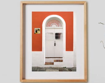 Caleta de las Monjas.  Photography, urban, orange, door, Old San Juan, Puerto Rico, decor, wall art, artwork, large format photo.
