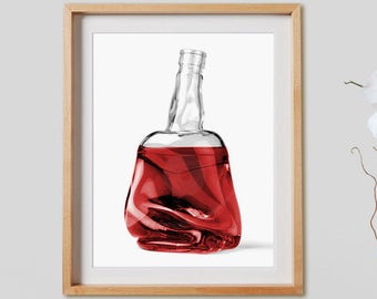 Misfit Bottles - 001 Print.  Black and White Photography, colored, red, decor, wall art, artwork, large format photo.