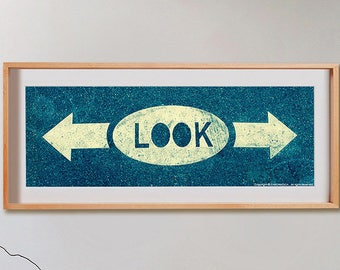 Look Print.  Black and White photography, red, blue, decor, wall art, artwork, large format photo.