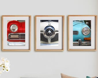 Wheels 3V Print Collection.  Detail photography, urban, vintage cars, antique automobile, red, white, blue, wall art, artwork, large format.