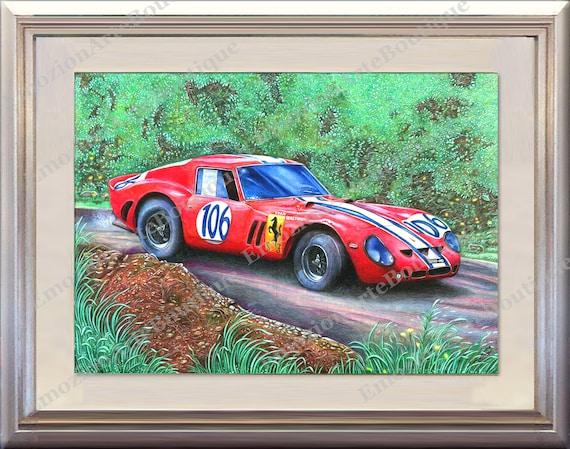 "Ford V Ferrari 250 GTO Grand Prix Le mans /""66 race car wall art panel Handmade.."