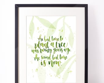 Chinese proverb inspirational wall art - A5 - Motivational print - Hand-lettered typography poster - Watercolour - Home decor