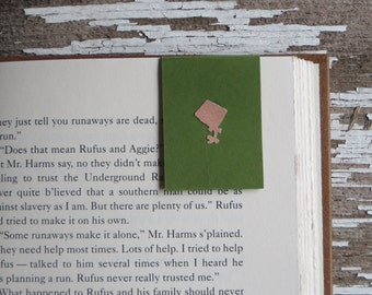 Green Magnet Bookmark, Kite Cutout | Book Accessory