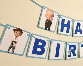 Boss Baby Birthday Banner / Boss Baby Cupcake Toppers / Please Read Item Details Before Ordering / Boss Baby Party