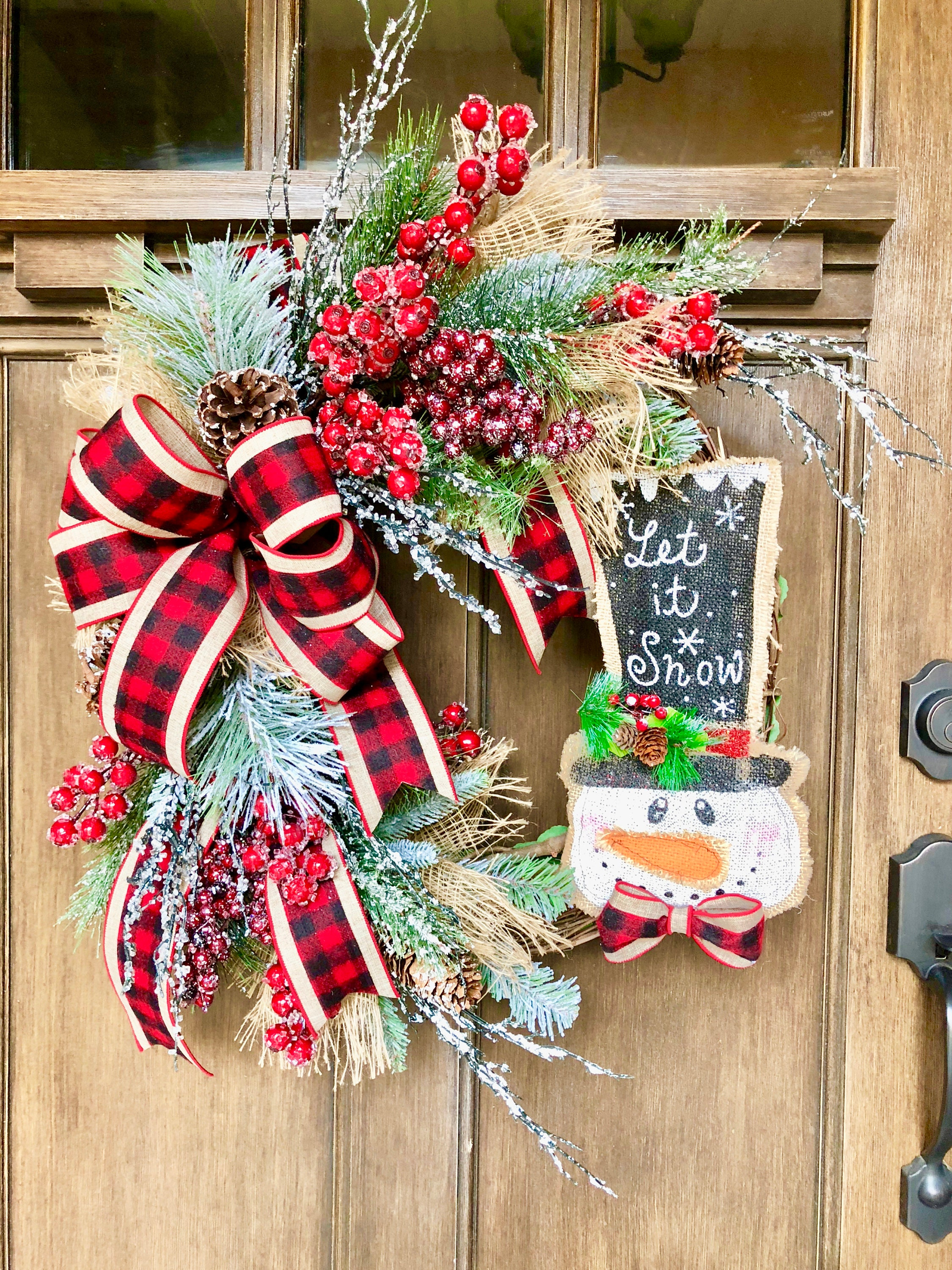 Buffalo Check Christmas Wreath.Rustic Christmas Wreath For Front Door Snowman Christmas