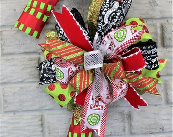 Candy Cane Christmas Wreath, Candy Cane Wreath, Candy Cane Door Hanger, Lime Green Christmas, Christmas Decor, Candy Cane Christmas Decor