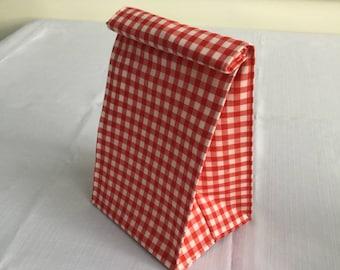 Lunch Bag/Goody Bag/Gift Bag/Red & White Gingham/Fabric Picnic Bag/Snack Bag