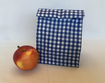 Gingham Lunch Bag/Goody Bag/Gift Bag/Navy Blue and White Lunch Bag/Fabric Picnic Bag/Snack Bag
