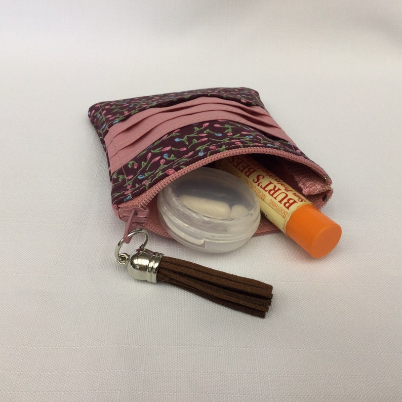 Pink /& Brown Floral Change PurseCredit Card HolderSmall WalletCoin PouchCash and Credit Card ToteFabric Wallet Mini Purse