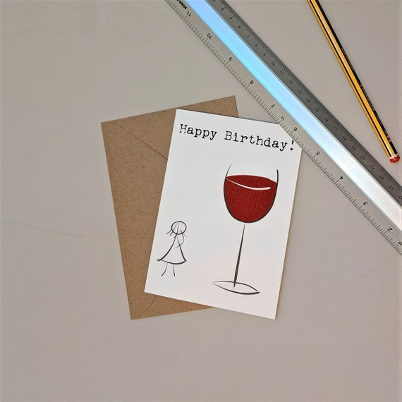 Red Wine Card Drink Birthday Lover Wife